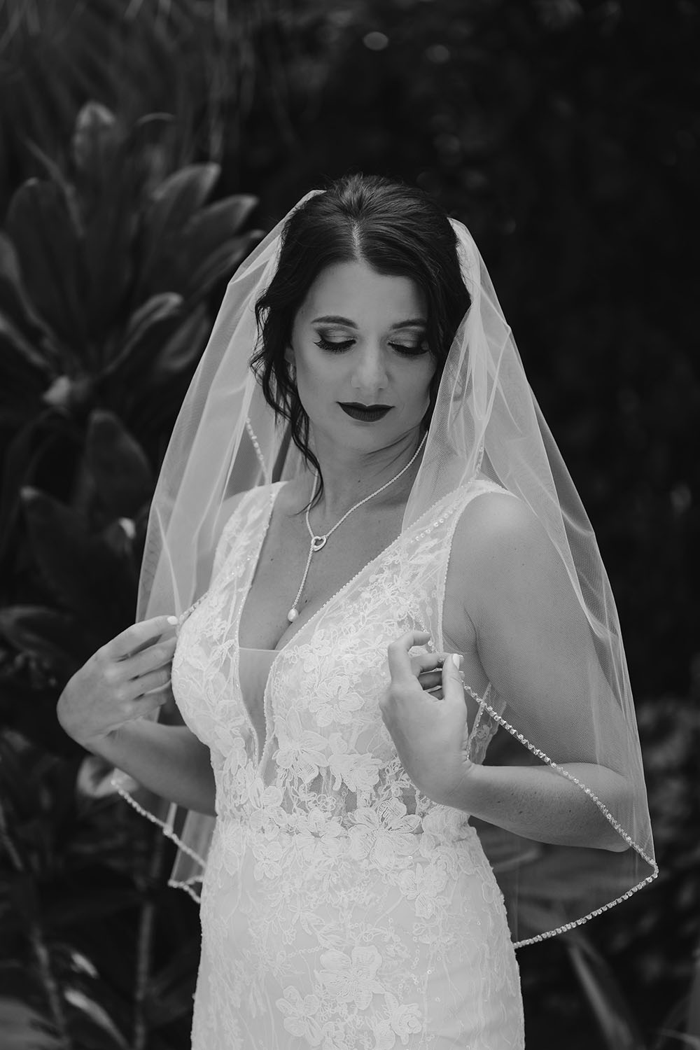Naples Wedding Photographer, black and white image of bride
