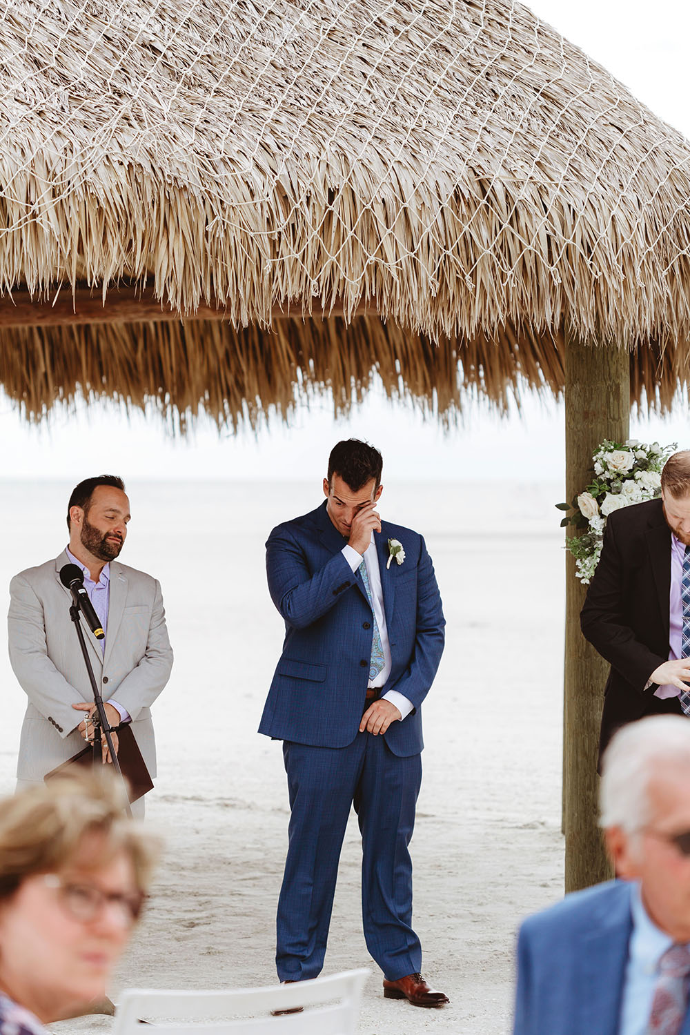 Naples Wedding Photographer, groom crying when he sees bride
