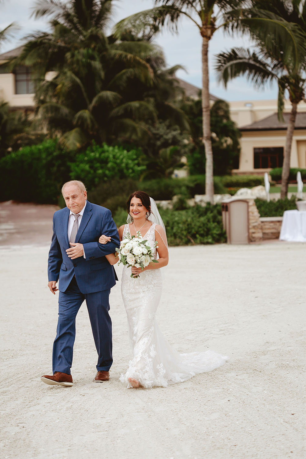 Naples Wedding Photographer, bride and father of the bride walking together