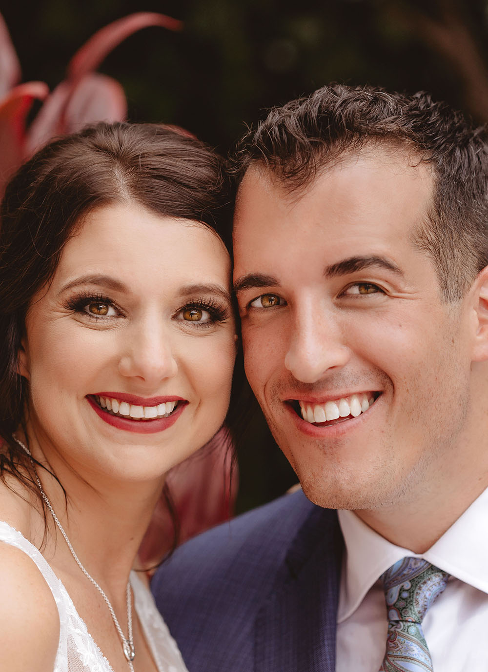 Naples Wedding Photographer, close up of bride and grooms faces