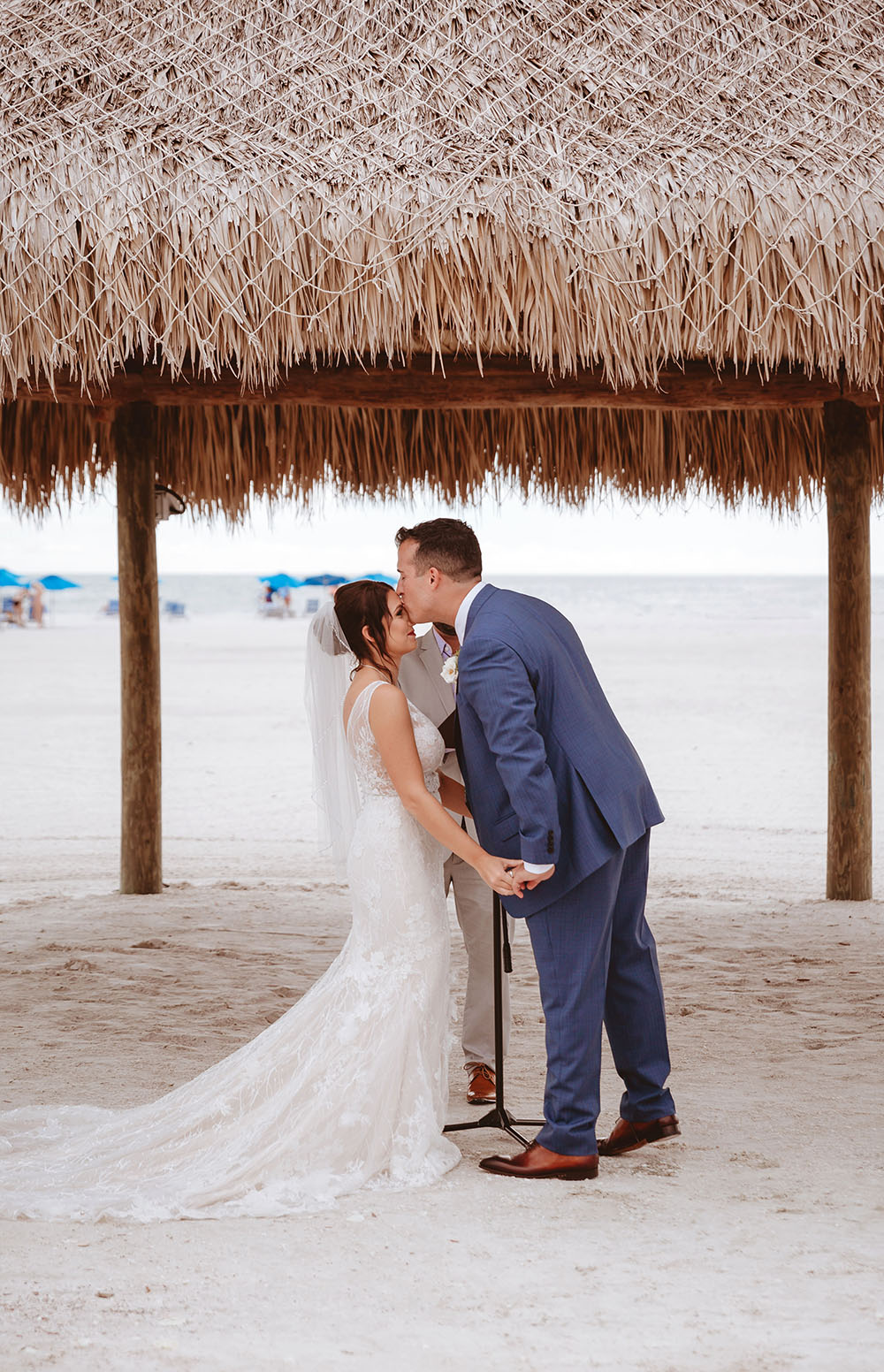 Naples Wedding Photographer, groom kissing bride's forehead