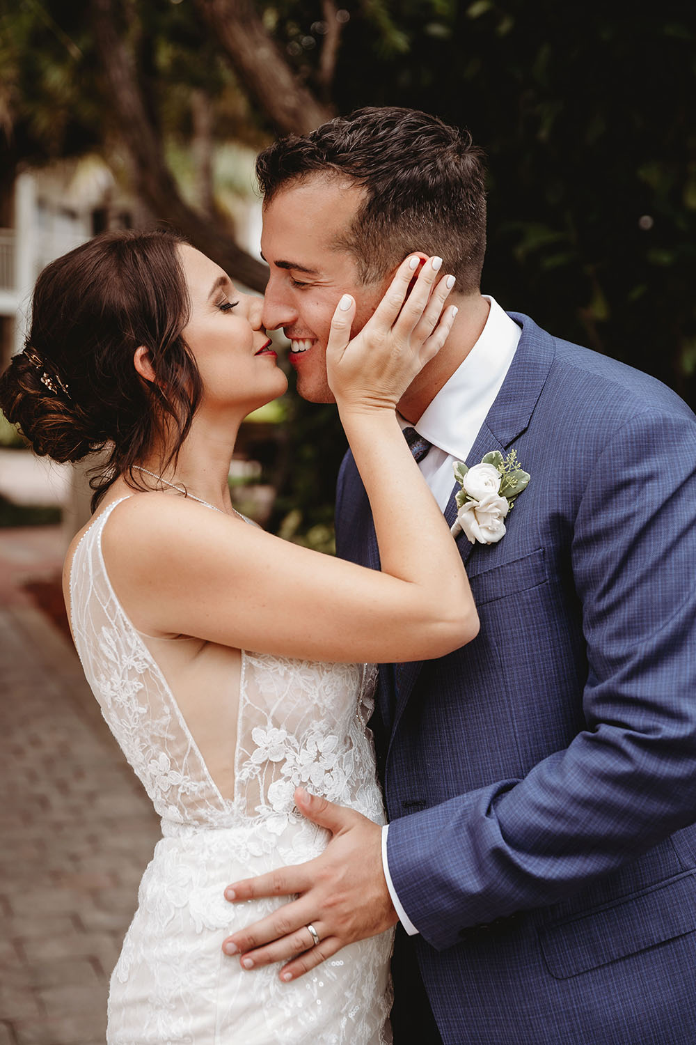 Naples Wedding Photographer, bride and groom kissing