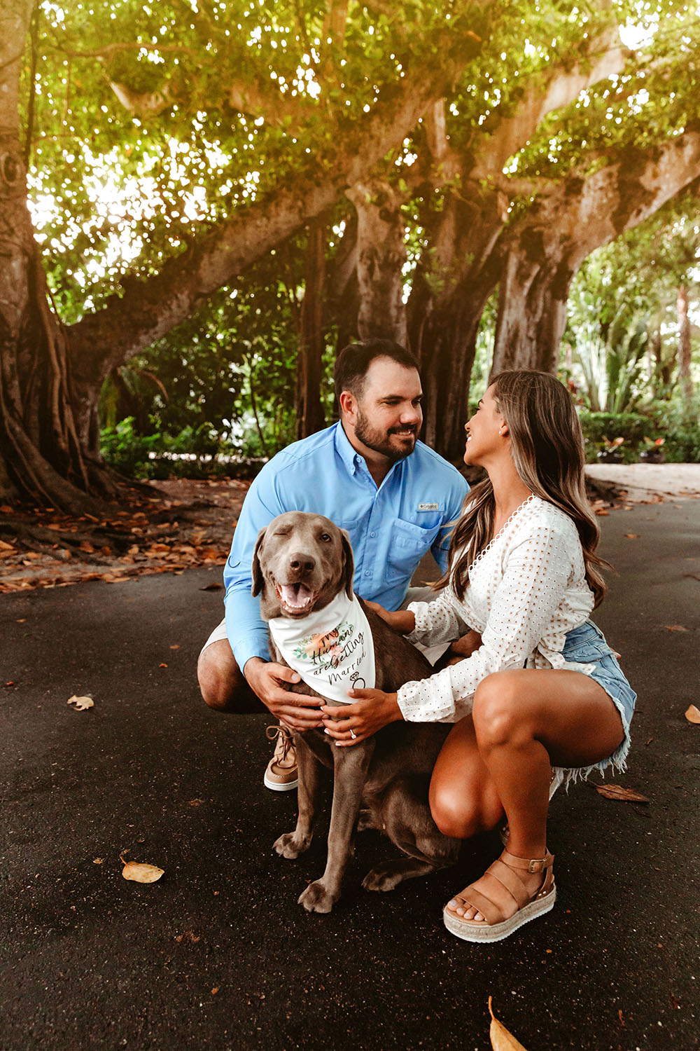 Naples Couples Photographer, couple kneeling next to their dog