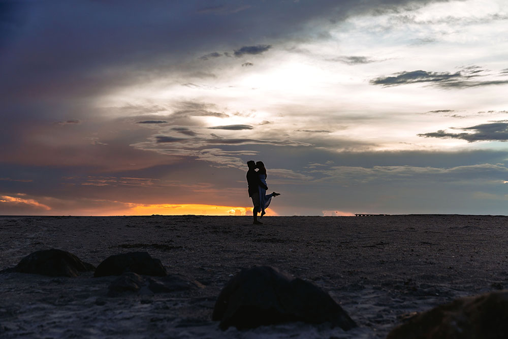 Naples Couples Photographer, couple kissing on the beach during sunset