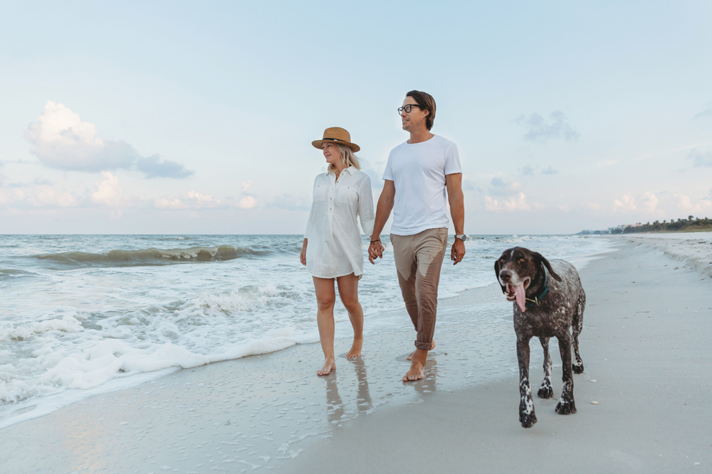 Naples Couples Photographer, couple walking on the beach with dog