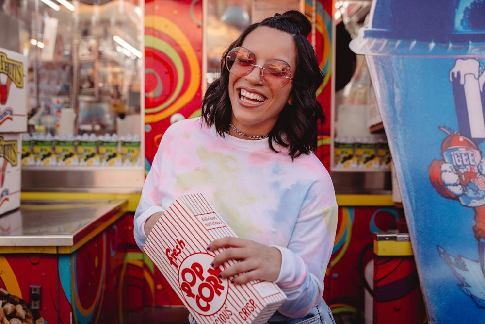Naples Branding Photographer, woman eating popcorn