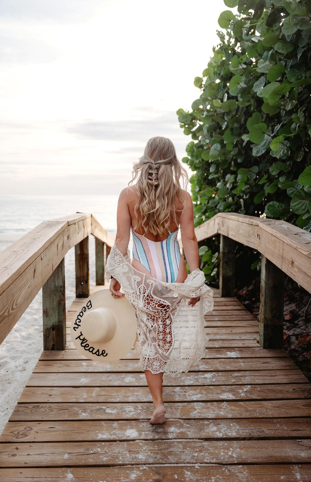 Naples Boudoir Photographer, woman walking down pier