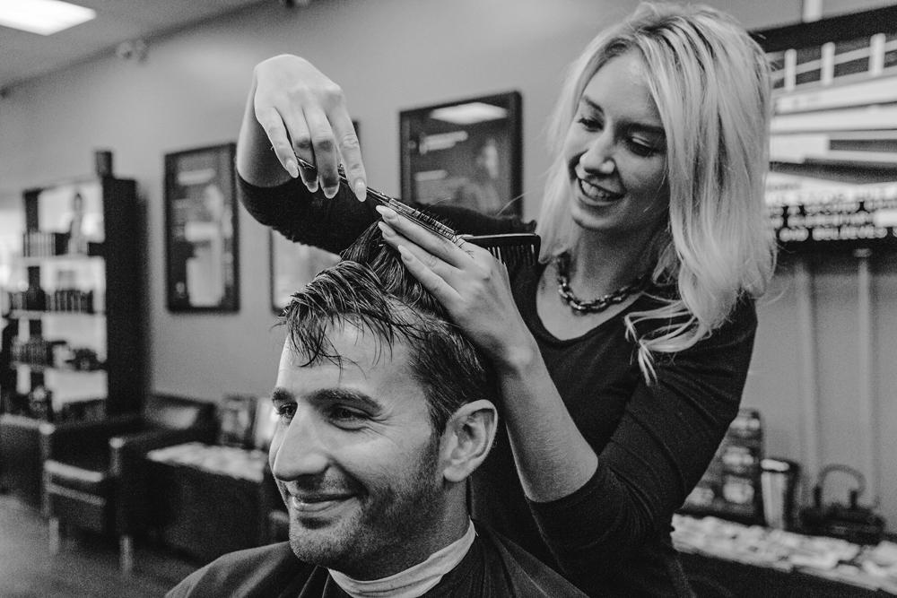 Naples Branding Photographer, woman cutting a man's hair