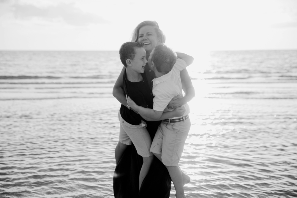 Naples Family Photographer, mother and little sons at the beach