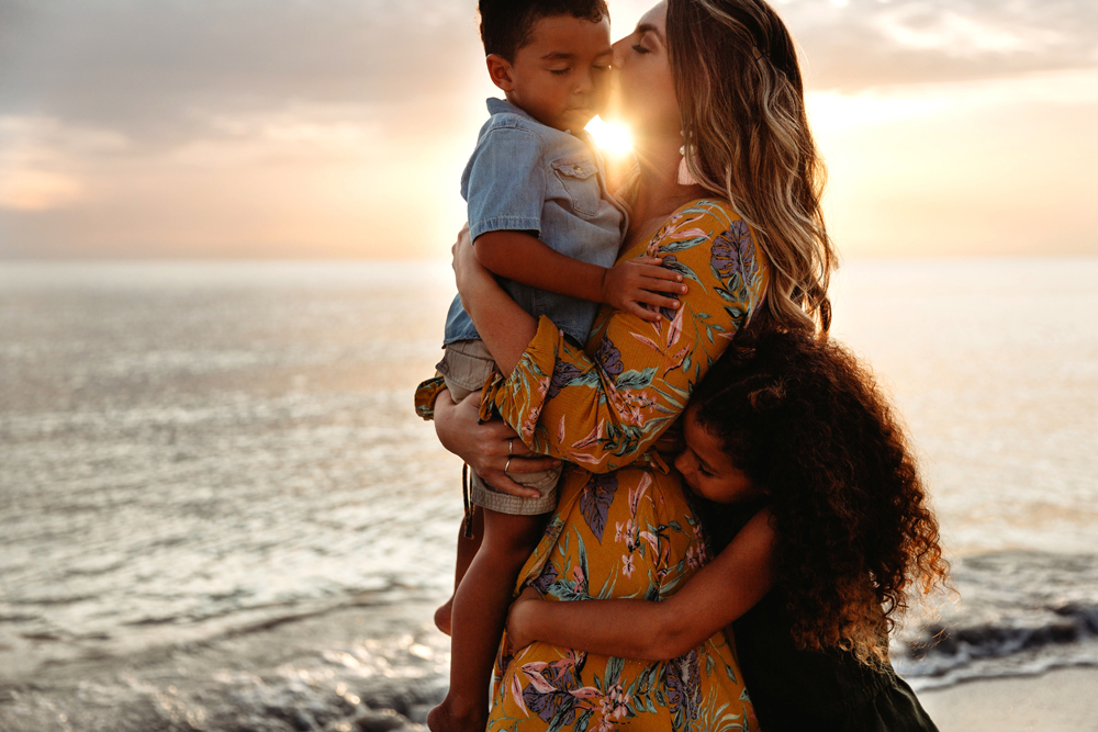 Naples Family Photographer, mother kissing son's cheek