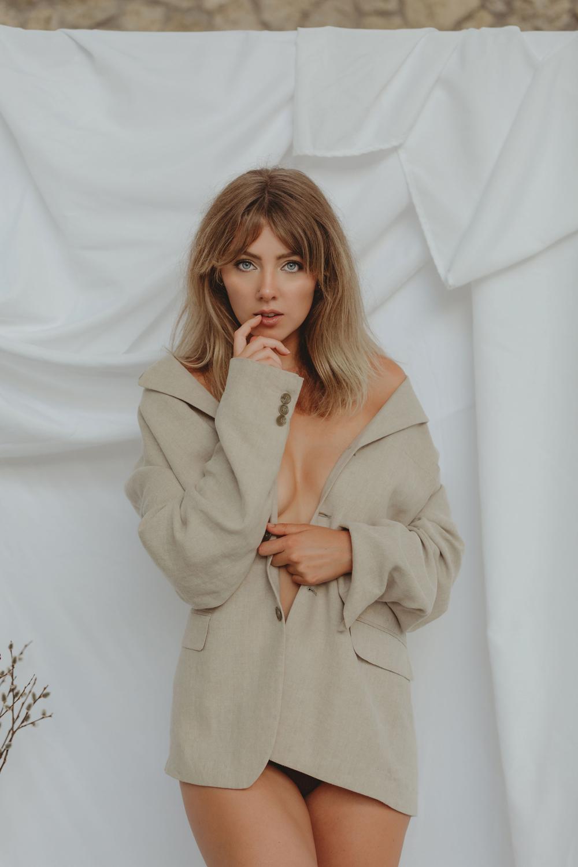 Naples Boudoir Photographer, woman in a men's sport coat