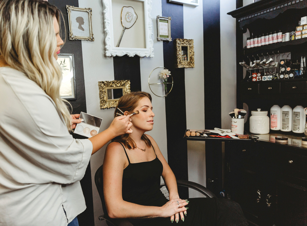 Naples Branding Photographer, woman getting her makeup done