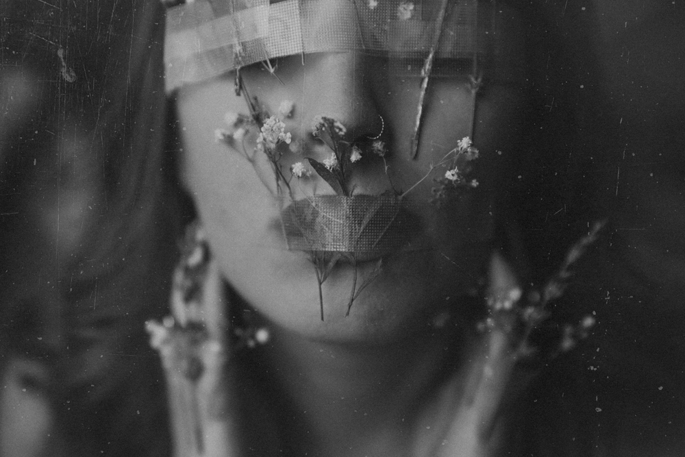 Naples Branding Photographer, black and white of woman with flowers over her face