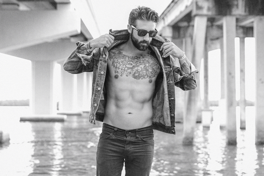 Naples Branding Photographer, man with no shirt and a leather jacket