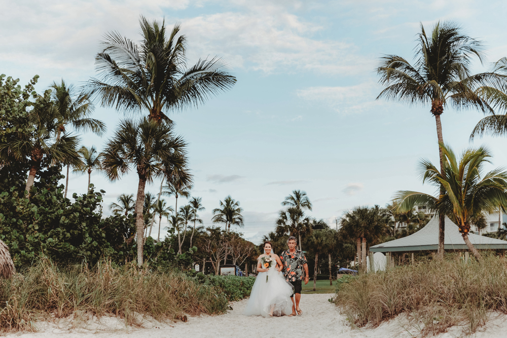 Naples Wedding Photographer, bride and father walking on the beach