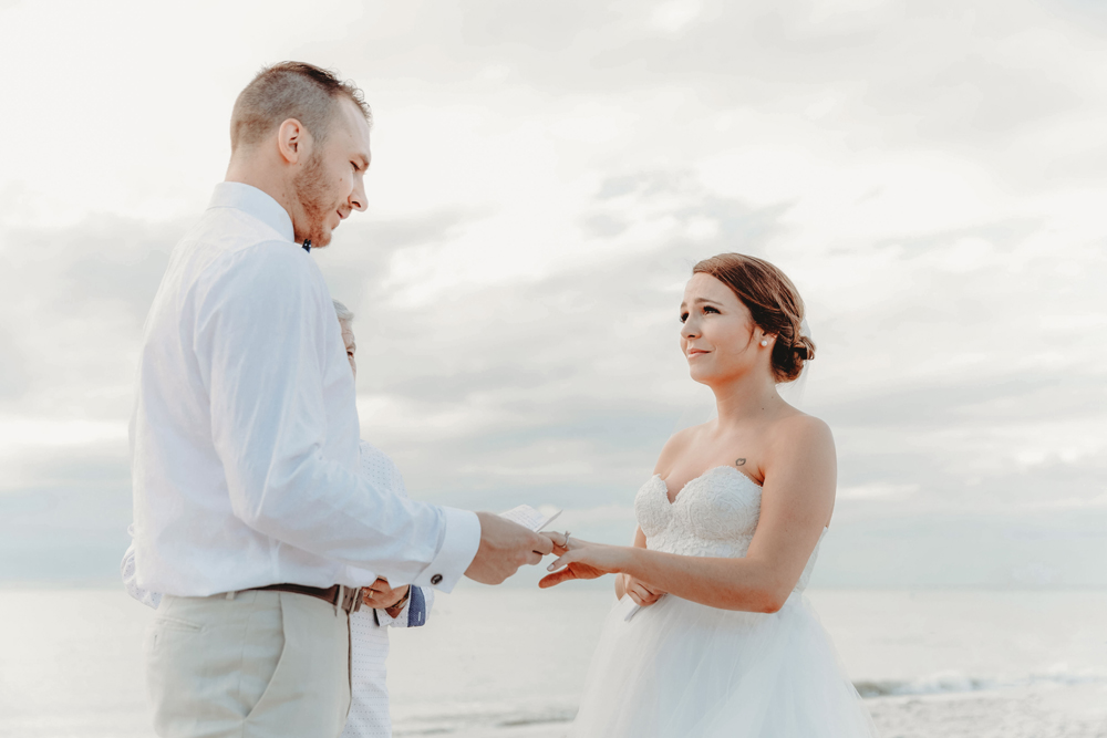 Naples Wedding Photographer, bride and groom standing on beach
