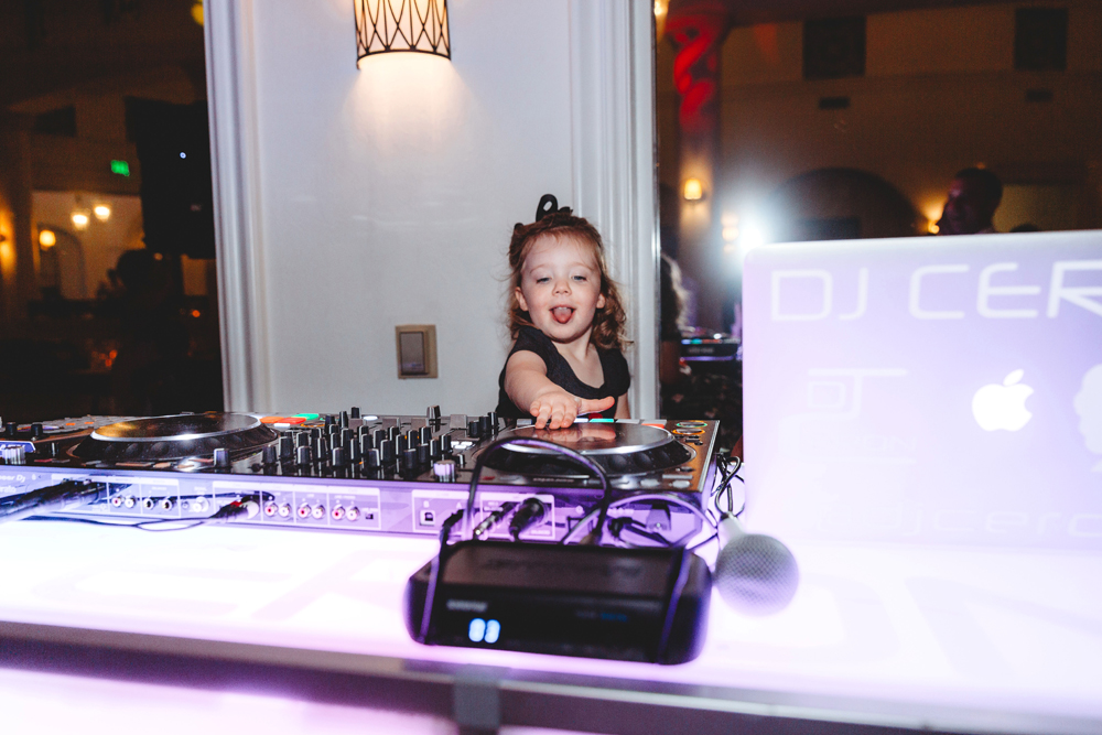 Naples Wedding Photographer, little girl at DJ's booth