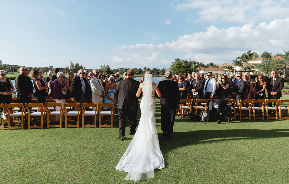 Naples Wedding Photographer, bride walking down the aisle