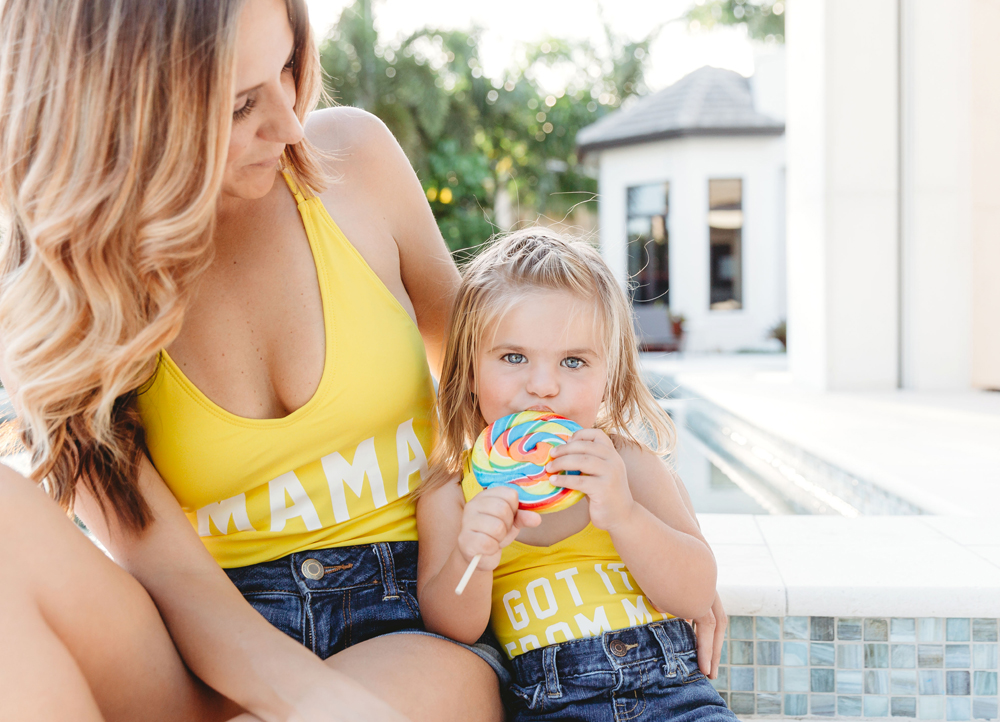 Naples Family Photographer, mother and daughter sitting next to pool