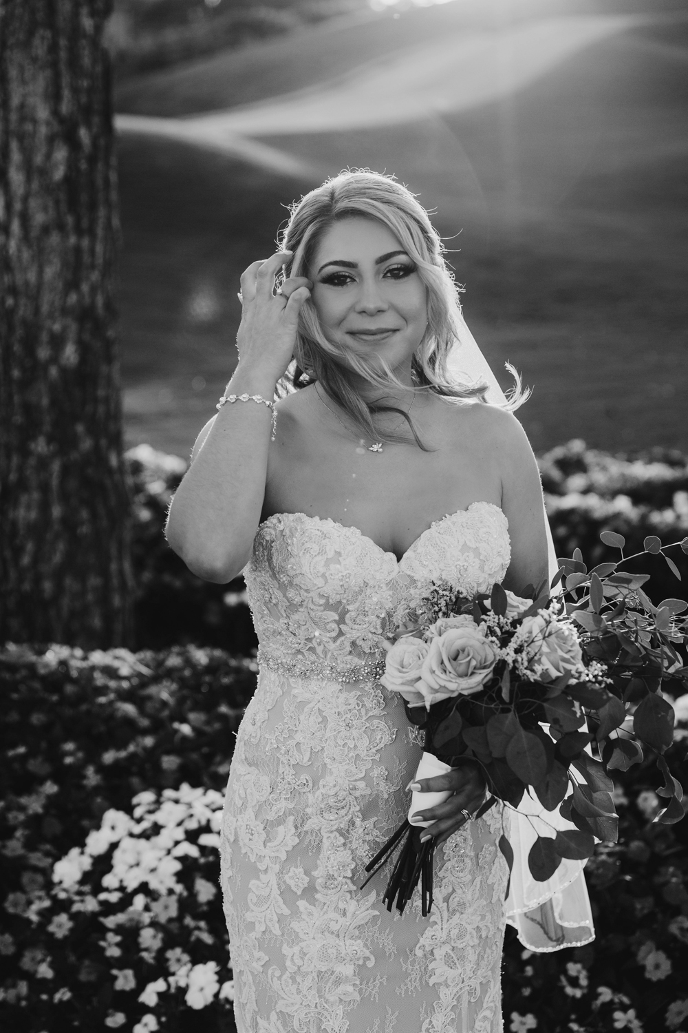 Naples Wedding Photographer, black and white image of bride with her bouquet