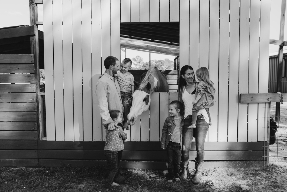 Naples Family Photographer, family standing next to horse