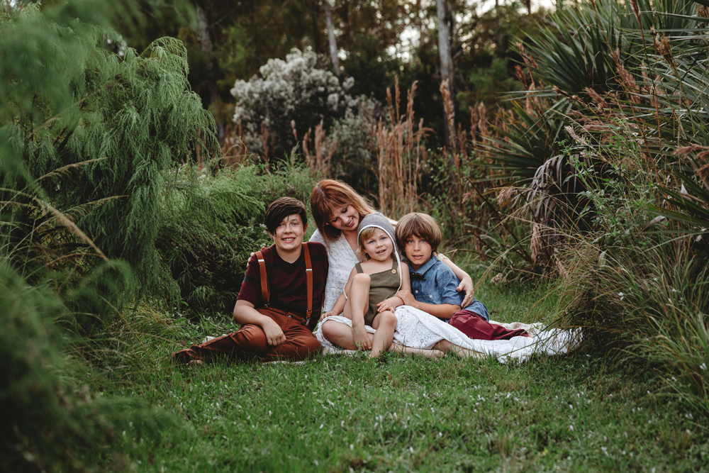 Naples Family Photographer, mother and kids sitting in the grass